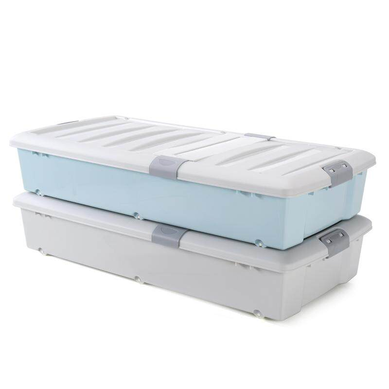 Large, Bed the End of Storage Box under the Bed Quilt Clothes Storage Box Thick Plastic Flat Finishing Box with Cap Pulley