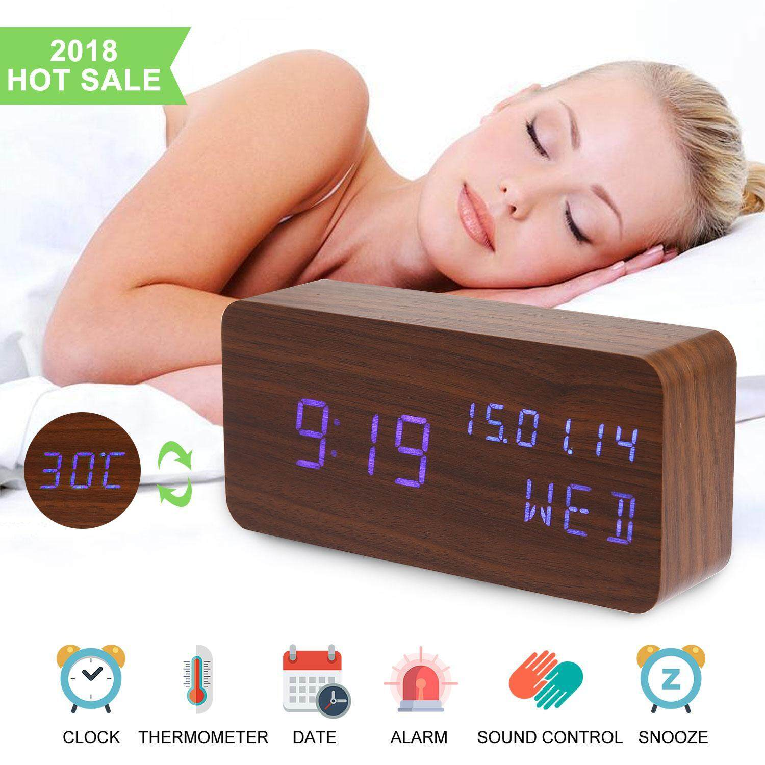 BuyBowie Alarm Clock,Wood Alarm Clock Voice Command Digital Clocks for Bedroom Beside LED Wooden Clock Small Alarm Clocks 3 Levels Brightness 3 Alarms Desk Clock Show Time Date Week Temperature for Office Home
