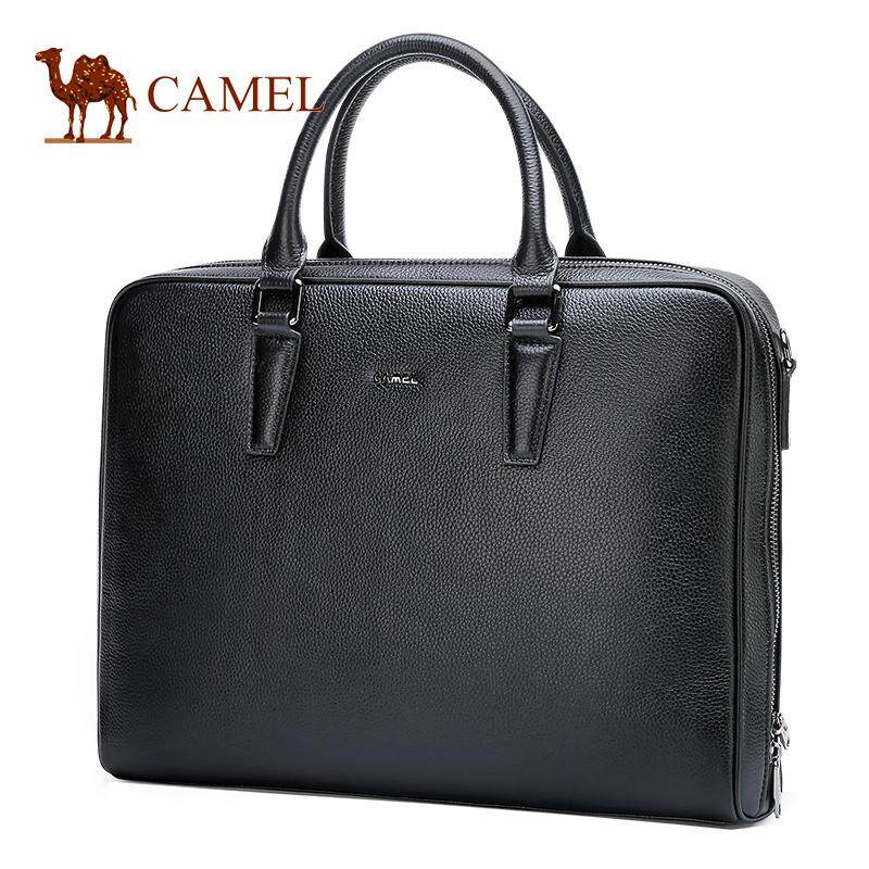 Camel authentic 2018 new style men's business briefcase cowhide horizontal style casual handbag