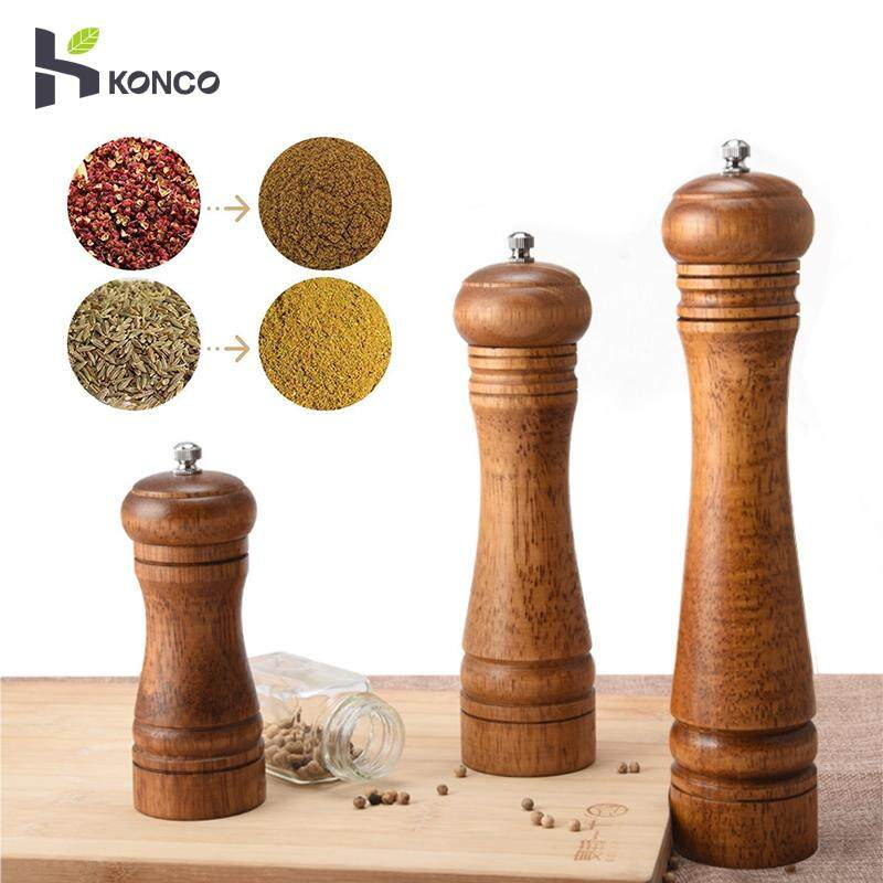Konco Wood Salt And Pepper Mills & Grinders(10 Inch), Wooden Spice & Pepper Mills, Manual Herbs Mills With Adjustable Ceramic Kitchen Shakers By Konco.