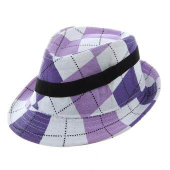851dcb9566f Fashion Baby Hat Baby Cap Kid Hat Mixing Style Hot Sale Jazz Cap For Boy  Girl Hat Newborn Photography Prop Trilby-Purple Large Lattice ขายช็อก
