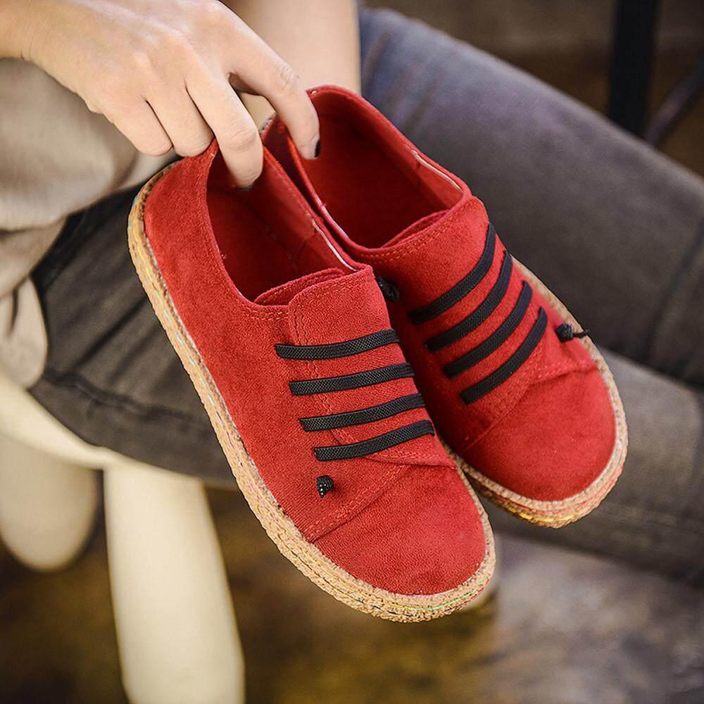 Coconie Wanita Datar Lembut Pergelangan Kaki Sepatu Tunggal Wanita Kulit Suede Lace-Up Boots-