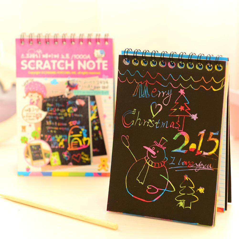 Sheet Graffiti Scratch Note Black Cardboard Notebook Creative DIY Scraping Drawing Paper Notes Color Random Gifts