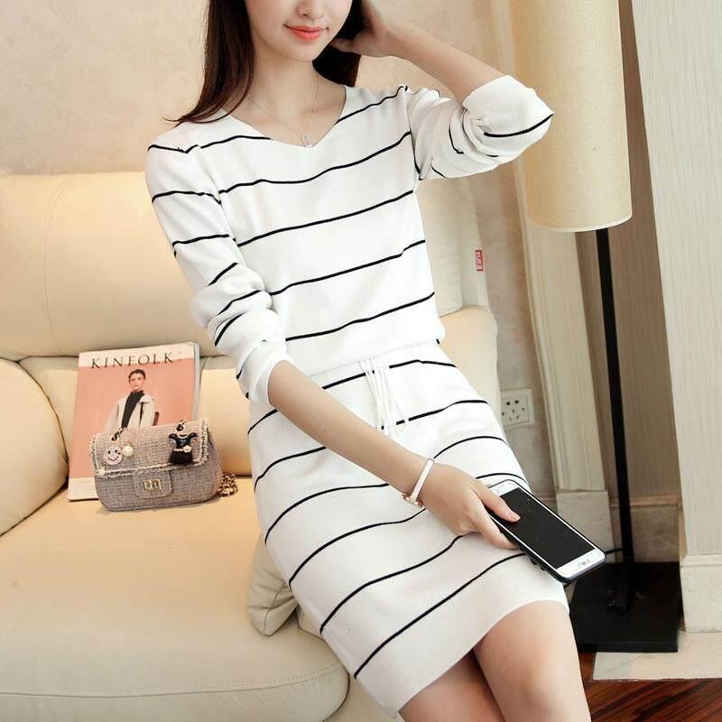 1a95ff3c4 Stripes Jersey Dress Women's Spring Clothing 2019 New Style V-neck  Mid-length Base