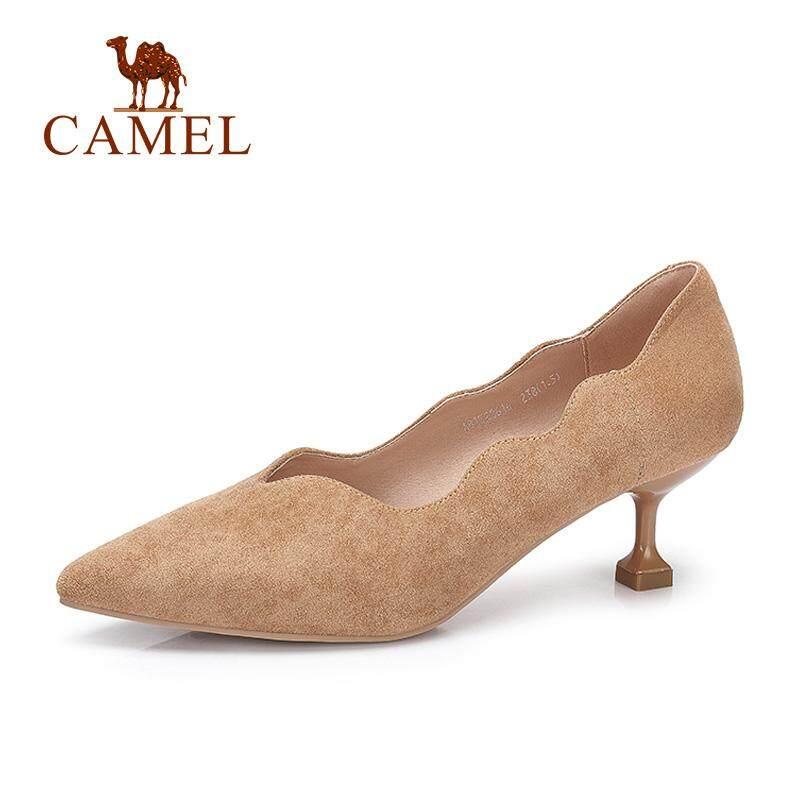 Camel Sepatu Wanita 2018 Musim Semi Baru Gelombang Sisi Hak dengan Model Runcing Sepatu Warna Murni