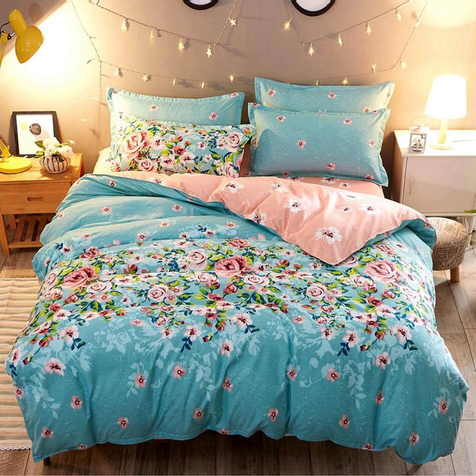 Flower Duvet Cover Bed Sheet Set Cheap Polyester Bed Linen Quilt Cover Set  Pillowcase Bedclothes Bedding