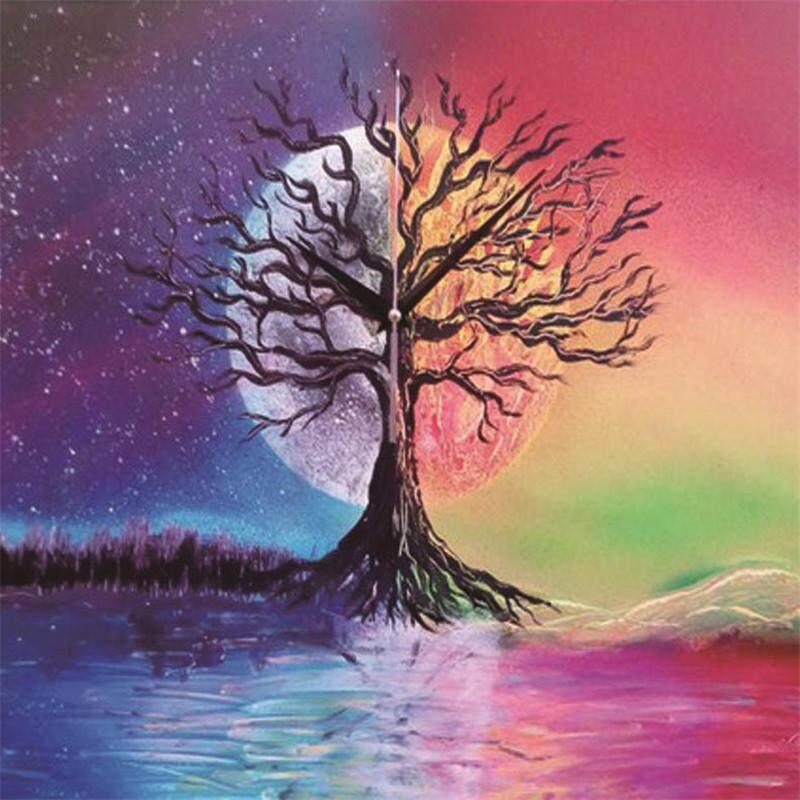 Rp 56.000. DIY 5D Bulan Pohon Penuh Lukisan Berlian Sulaman Jahitan Menyilang ...