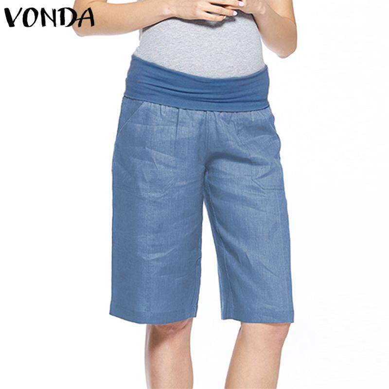 233e3ac3e130c VONDA Summer Maternity Pregnant Women Elastic Waist Overbump Loose Shorts  Pants S-5XL