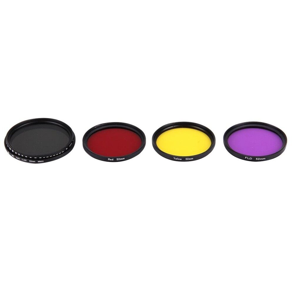 Junestar 4 In 1 Proffesional 52 Mm Filter Lensa (ND2-400 + Merah + Kuning + FLD/Ungu) untuk GoPro HERO5/4 S/4/3 +/3/2 & Xiaomi Xiayi Yi I/II 4 K & SJCAM Sport Kamera Aksi-Intl