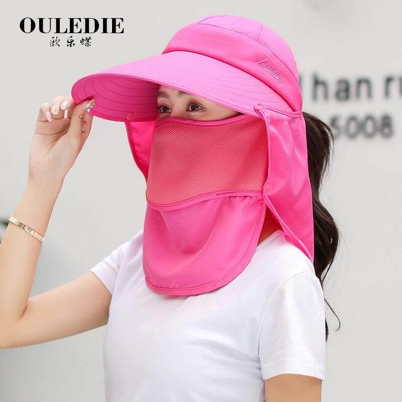 Topi Pelindung Sinar Matahari perempuan musim panas bisa dilipat menutup  muka Pelindung Terik Matahari topi matahari e5f3f10b37