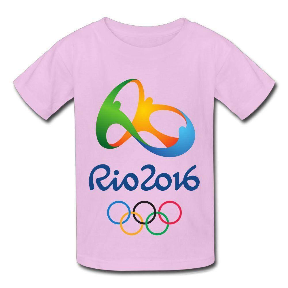 Yonth Anak-anak 2016 Rio De Janeiro Permainan Olimpiade Kaos Lambang Fashion Baru Olahraga Remaja Top-Intl