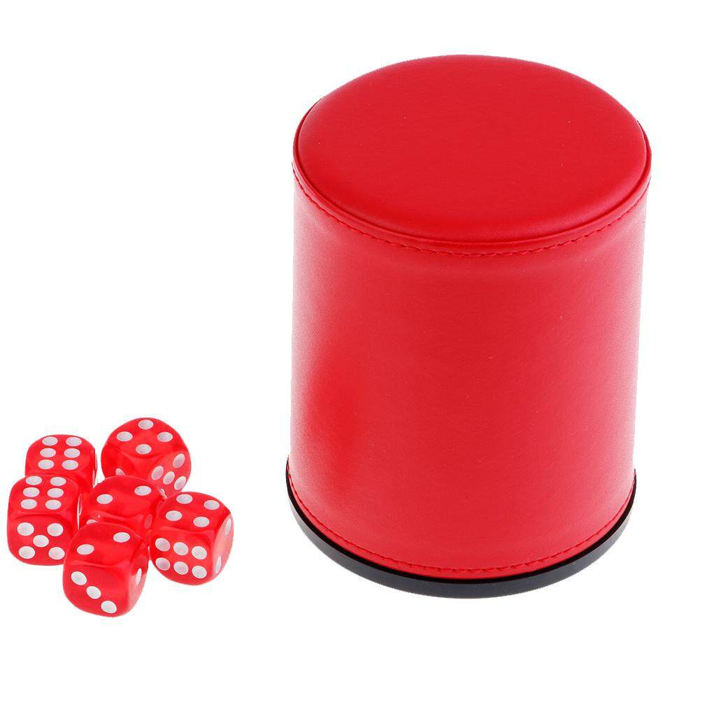 Hình ảnh BolehDeals Hand Shaking Leather Dice Cup KTV Party Entertainment Clubs Dice Dup Red