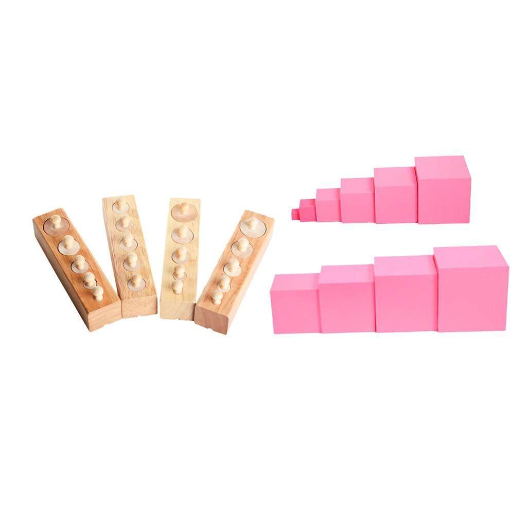BolehDeals 2 set Montessori Sensorial Family Set Pink Tower+Cylinder Blocks Baby Stacking Developmental Game
