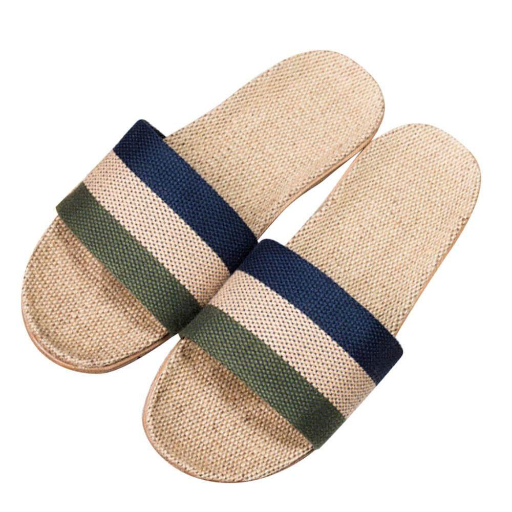 0849a4d87529 Rainny Women Men Anti-slip Linen Home Indoor Summer Open Toe Flats Shoes  Slippers