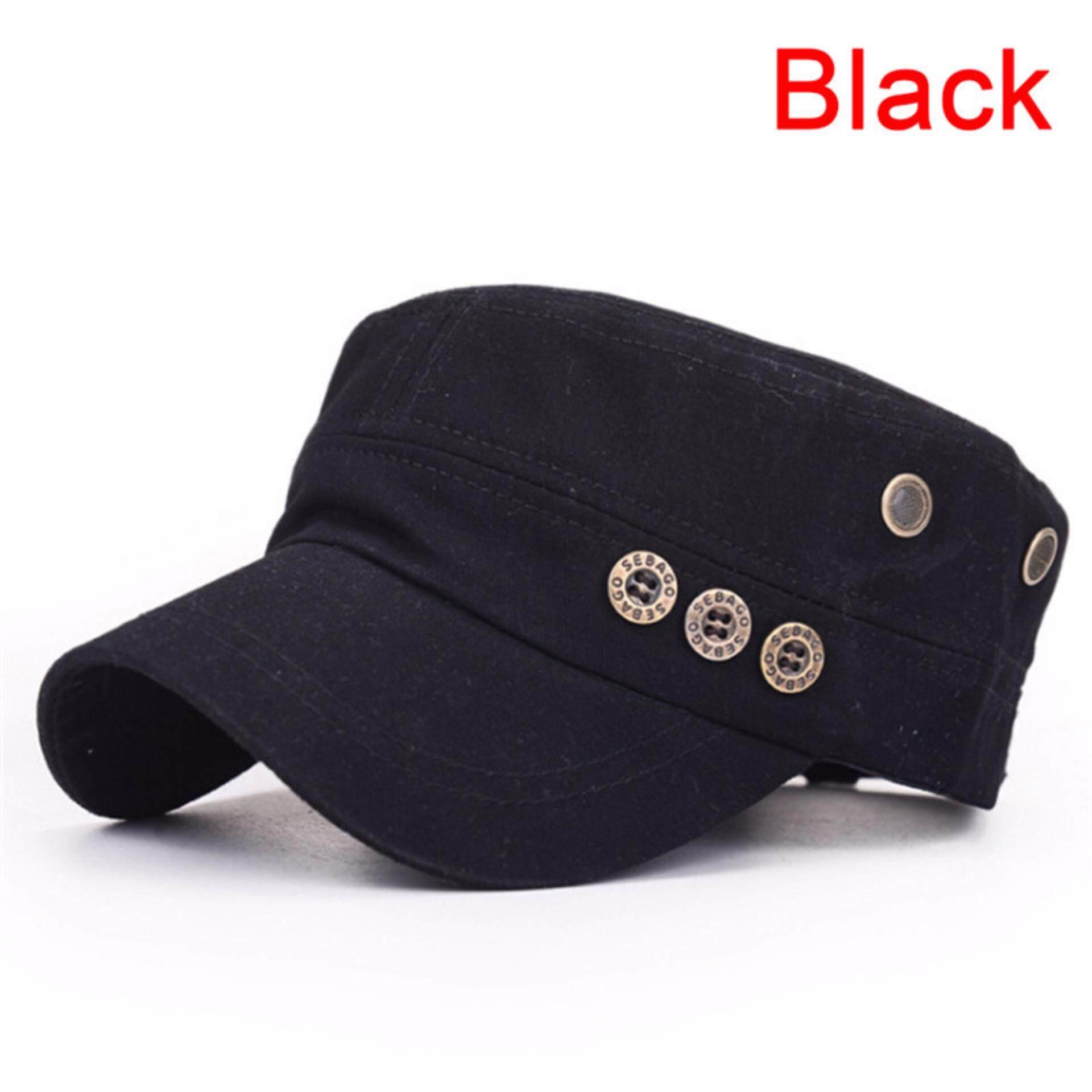 Men Women Classic Army Plain Vintage Hat Cadet Military Baseball Adjustable Cap - intl