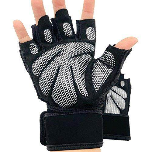 Afeel Weight Lifting Gym Gloves Workout Gloves gym workout Wrist Wrap Support Weightlifting,Bowling,Training,Bodybuilding Men & Women (Silver, X-Large) - intl