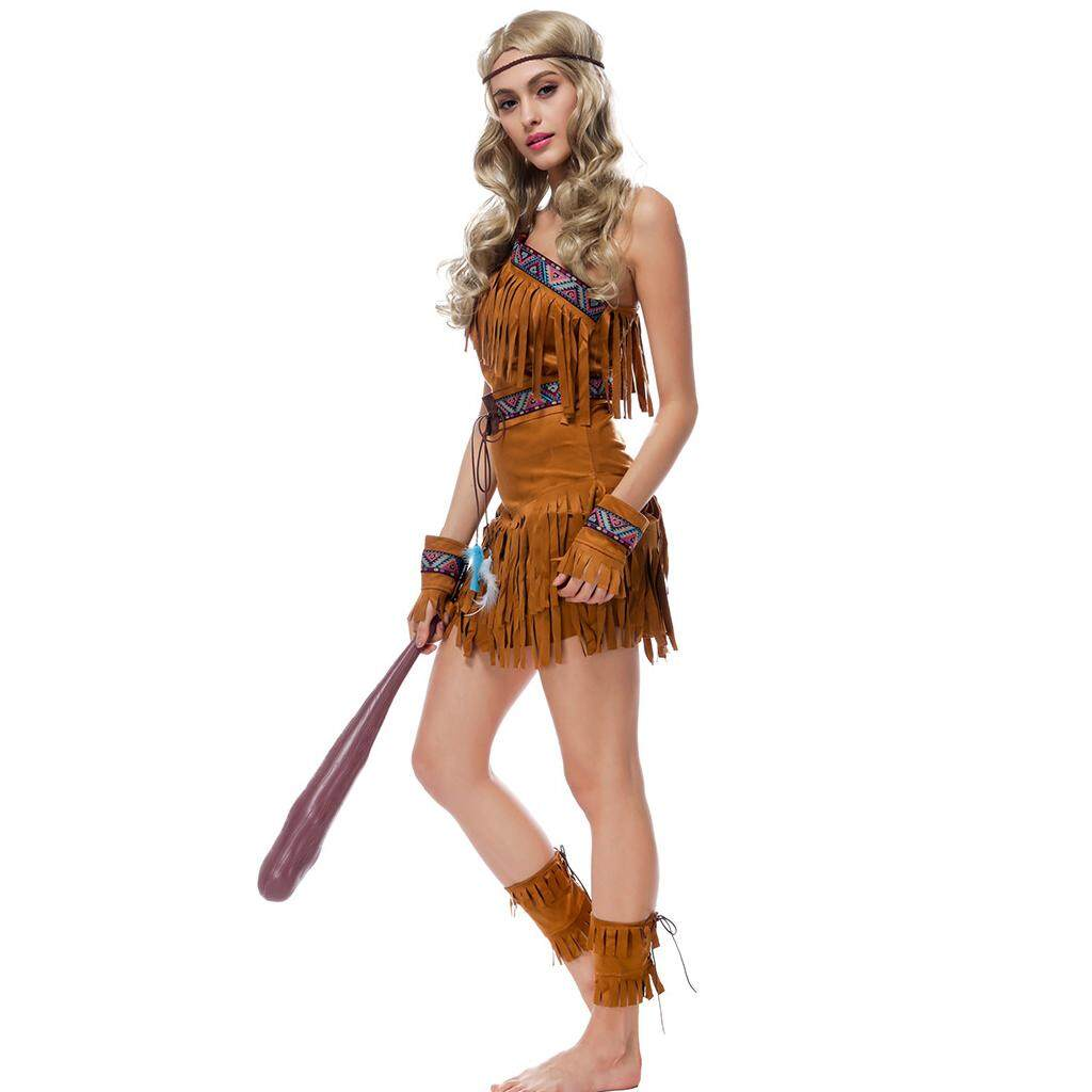 MagiDeal Women Tassel Suede Indian Costume Native America  PrincessPocahontas Outfit L