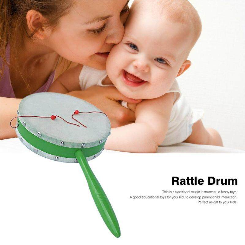BELLE Traditional Wooden Rattle Drum Children Early Learning 8/18/20cm for Gift green