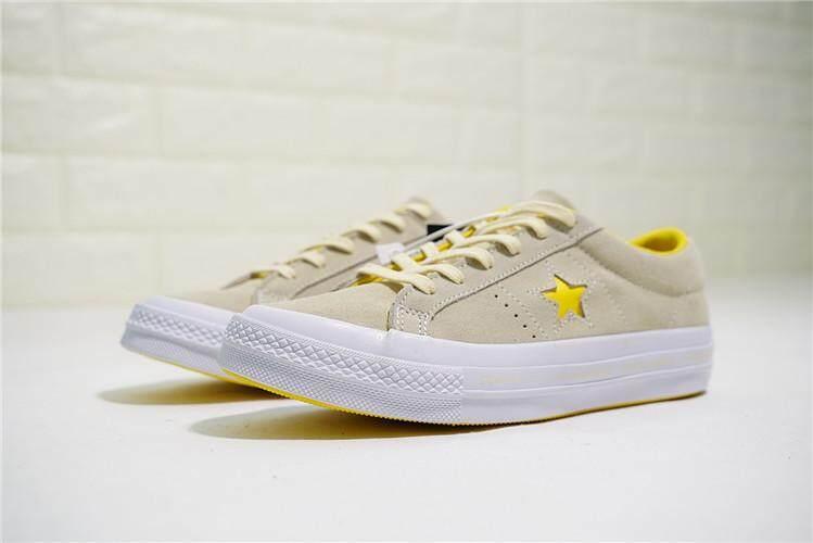 Converse Asli Wanita Sepatu Skateboard Satu Bintang Ox Garis-garis Low Top  Diskon (Merah 9816806fe7