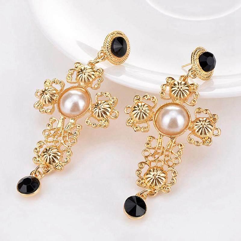 ... BZY Elegant Imitation Pearls Shiny Resin Cross Statement Earrings Trendy Jewelry - 3 ...