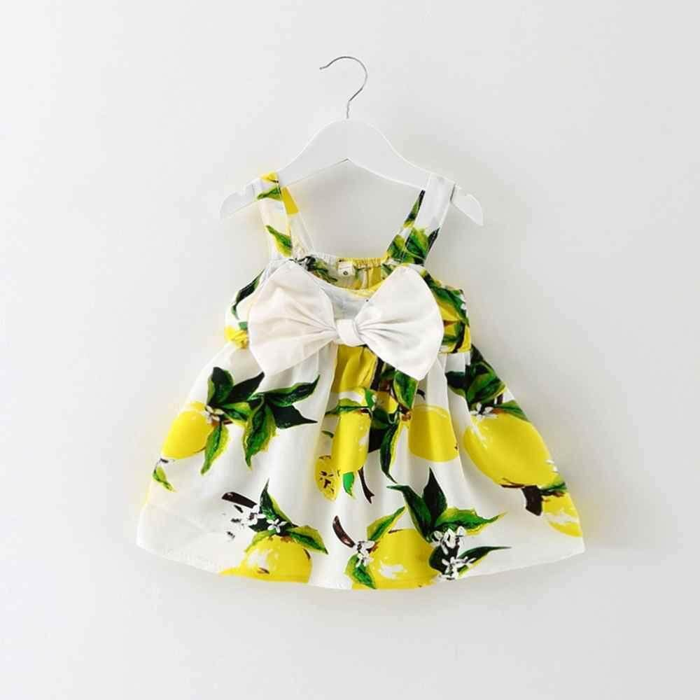 cefe1f6a0432 huyia 2018 New Baby Dress Infant Girl Dresses Lemon Print Baby Girls Clothes  Slip Dress Birthday
