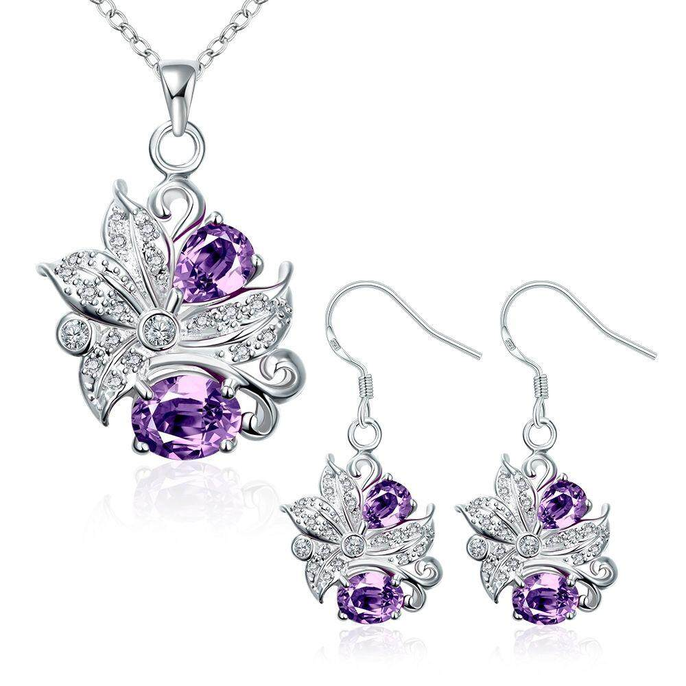 Free Shipping New Fashion Women popular 925 silver plated jewelry sets for sale (Purple)
