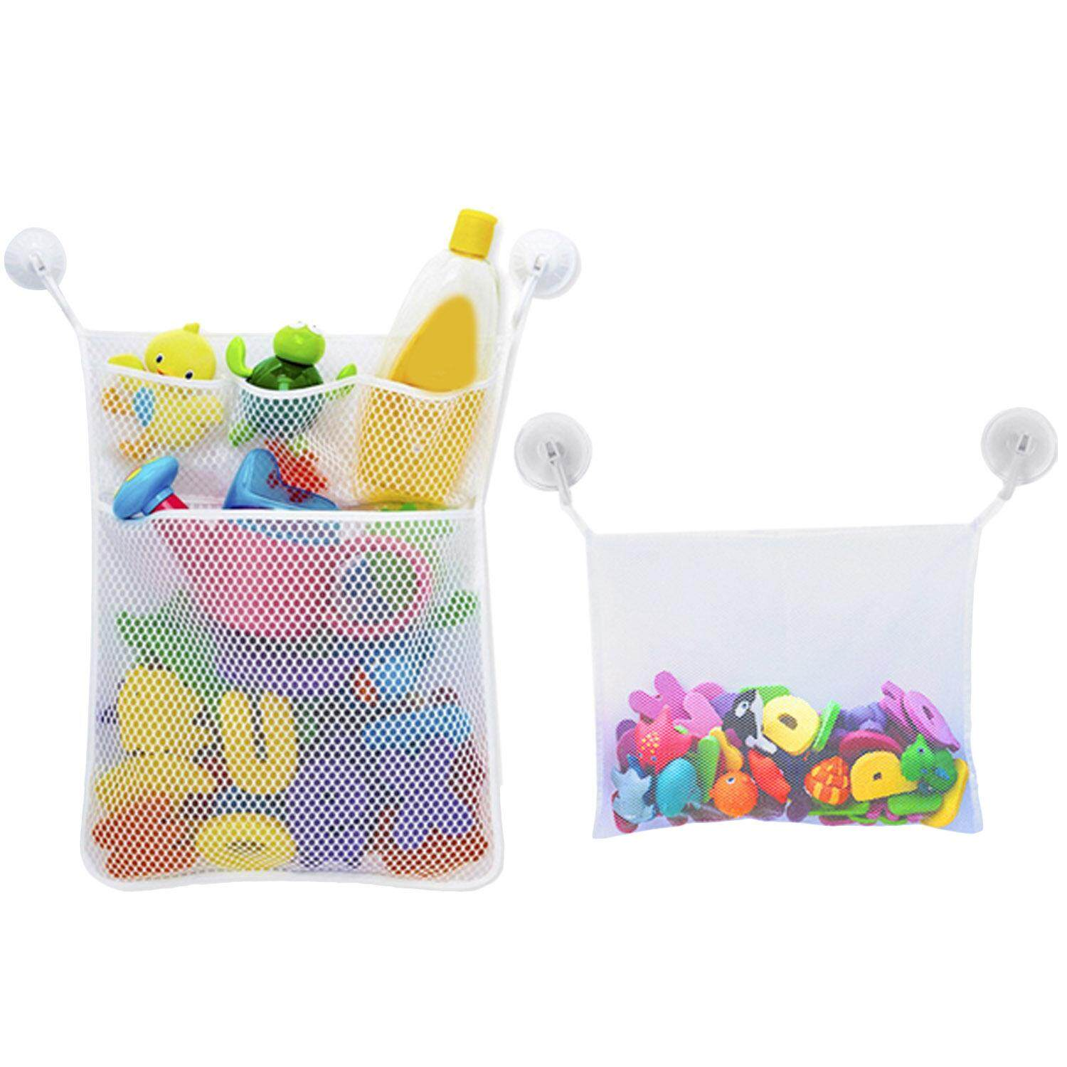 Multi-Use Bath Toy Organizer Net Storage Bag With 2pcs Strong Hooked Suction Cups For Toys Soap Shampoo Toothpaste White By Elek.