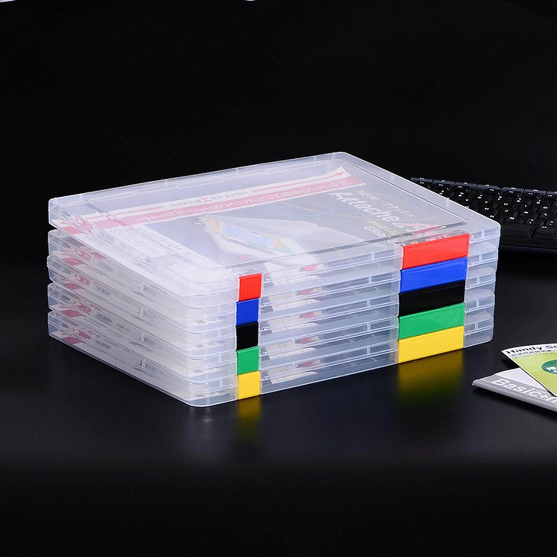 2 Pcs A4 Ukuran Portabel Plastik Transparan Bening Penyimpan Dokumen Kasus Wadah Boks Kontainer dengan Penguncian Gesper untuk Kertas Brosur Amplop Faktur Tagihan Majalah warna Acak