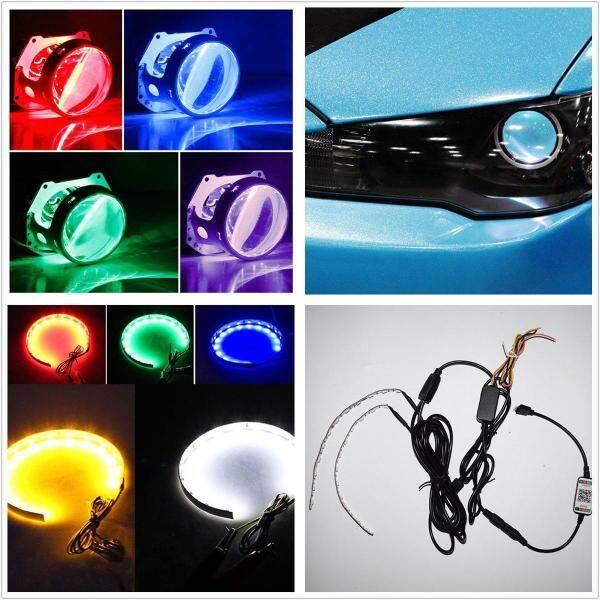 Xe 2.5/2.8/3.0 Retrofit Trang Trí Bluetooth Quỷ Mắt Đèn Pha Halo Ring RGB LED