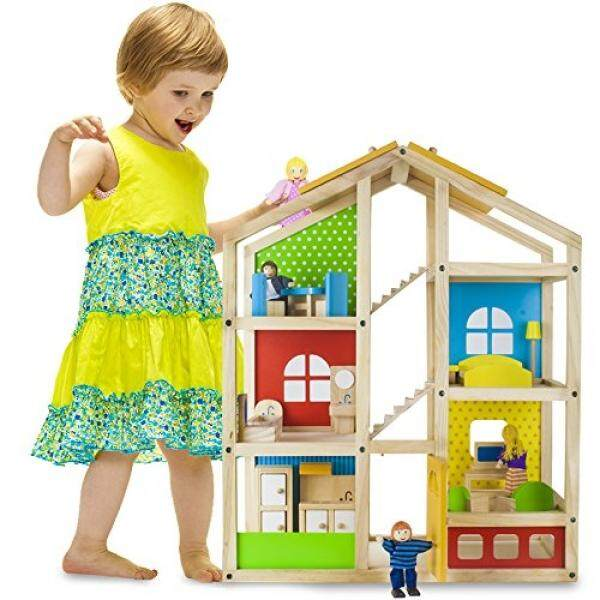 Keajaiban Kayu Tall Townhome Rumah Boneka dengan 16 Pieces dari Furniture dan 4 Boneka Oleh Imagination Generation-Internasional