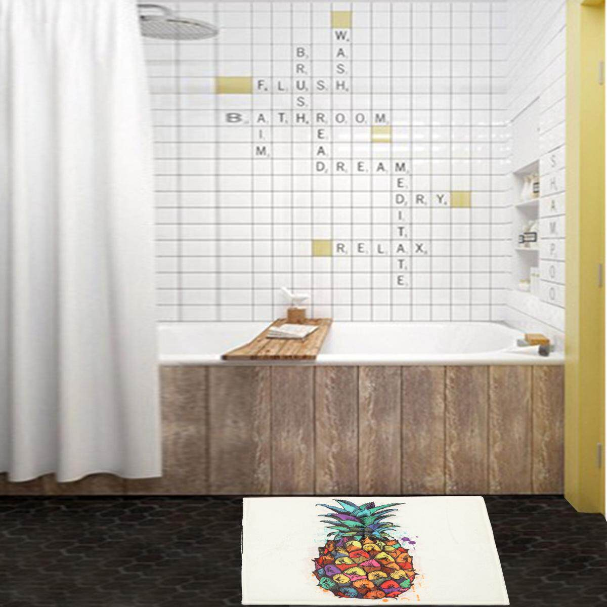 Photo Color Pineapple Bathroom Shower Curtain Waterproof Fabric W 12 Hooks 180