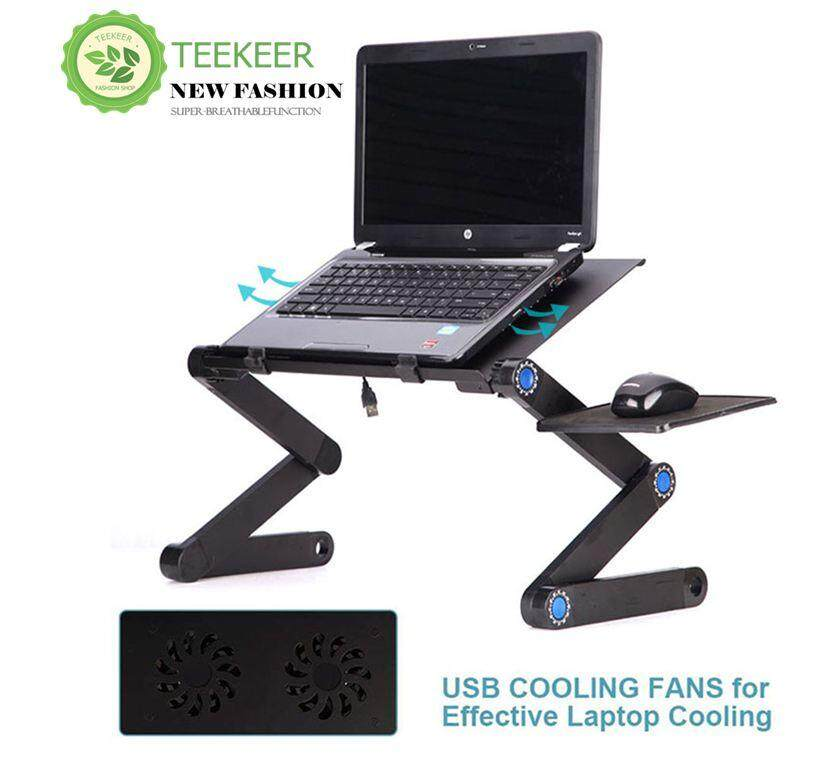Teekeer table Aluminum Laptop Stand Desk Table With Adjustable Stand, Mouse Board, Ergonomic Design For Using In Bed