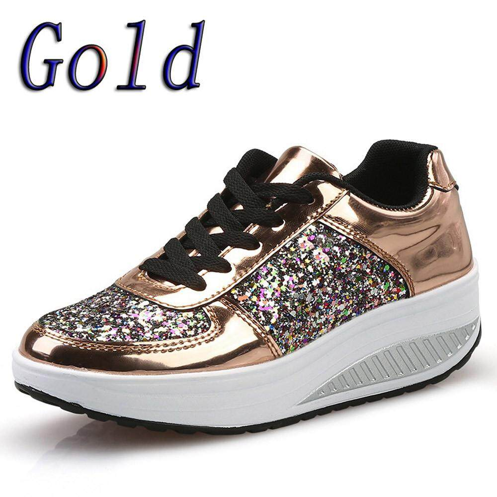 Shoes For Women Girls New Womens Ladies Wedges Sneakers Sequins Shake Shoes Fashion Girls Sport Shoes By Chinastorenie.
