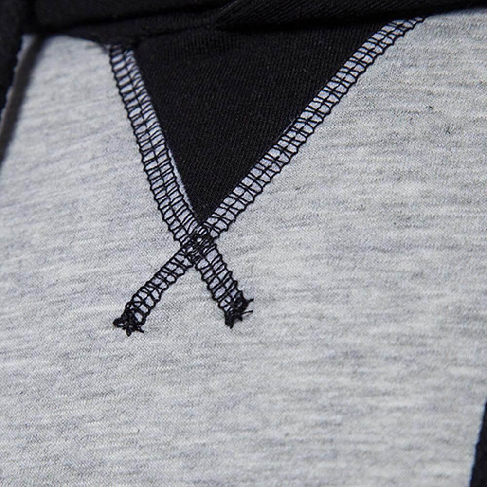 LB Men Crewneck Sweatshirt Casual Stitching Hoodies Long Sleeve Slim Pullover - 5