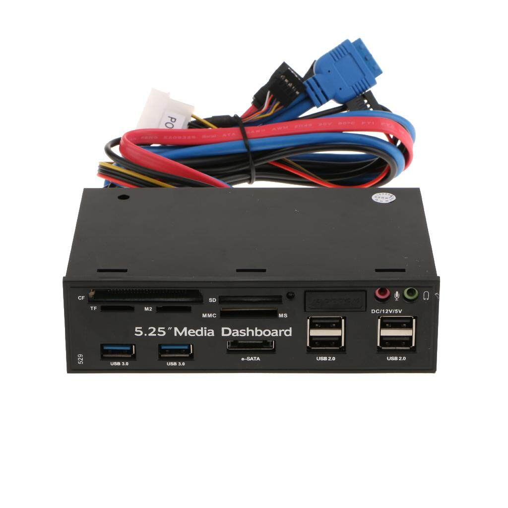 MagiDeal 5.25 Multi-function Front Panel Media Dashboard USB3.0/2.0 Hub Card Reader