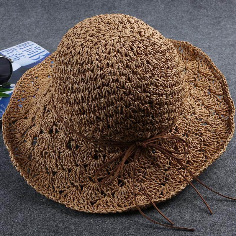 Musim panas wanita Topi jerami Pantai topi Gaya Korea topi matahari  berongga topi Pelindung Sinar Matahari 722f81a8a1