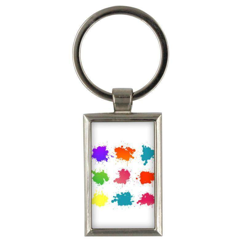 Keychain Vector Set Of Colored Blots On The White Backgroun for Keyring Mens Creative Alloy Metal Keyfob Gift Car Key Ring Chain Key chains - intl