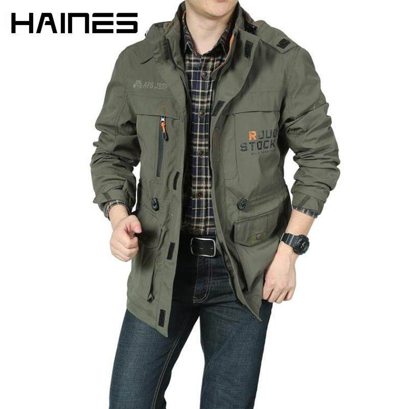 ZZOOI Spring Autumn Jackets Men Casual Bomber Jacket Men Windbreaker Windproof Tactical Jacket Detachable Hood Coat