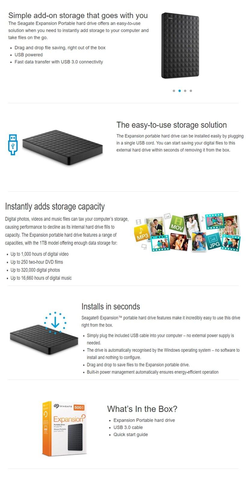 Seagate Expansion Portable Drive 15tb Lazada External 1tb Spesifikasi Oleh