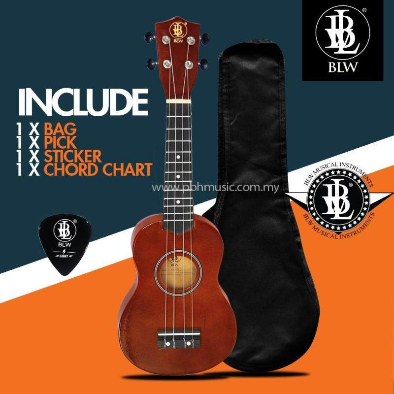 BLW 21 Inch 4 Nylon Strings Soprano Ukulele Hawaii Guitar FREE Bag, Chord Chart, Pick & Sticker (Brown) Malaysia