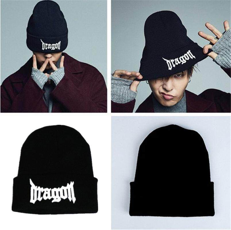 G-Dragon GD Gaya Yang Sama Hat PEACEMINUSONE BIGBANG G-dragon Musim Dingin Hangat Topi Beanies Hitam