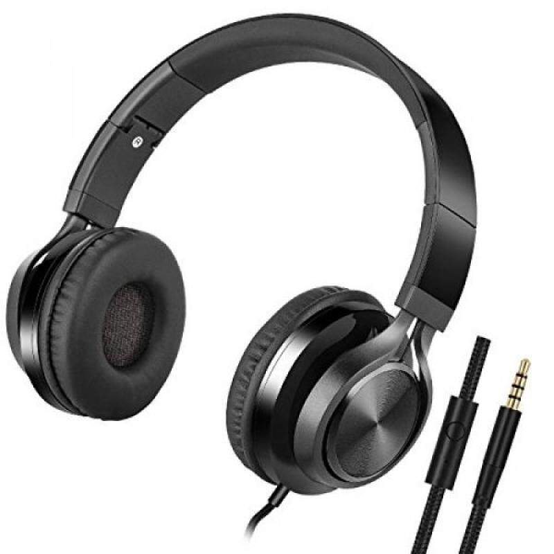 Foldable Computer Headsets, Lightweight Headphones with Microphone and 3.5mm Plug for iPhone,iPod,iPad, Android Smartphones, PC, Laptop, Mp3/mp4, Tablet Macbook Earphones … - intl