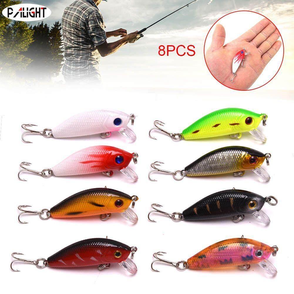 PAlight 8pcs 5cm Fishing Lures Bionic Bait 3D Eyes Double Hooks Artificial Attractive Bait