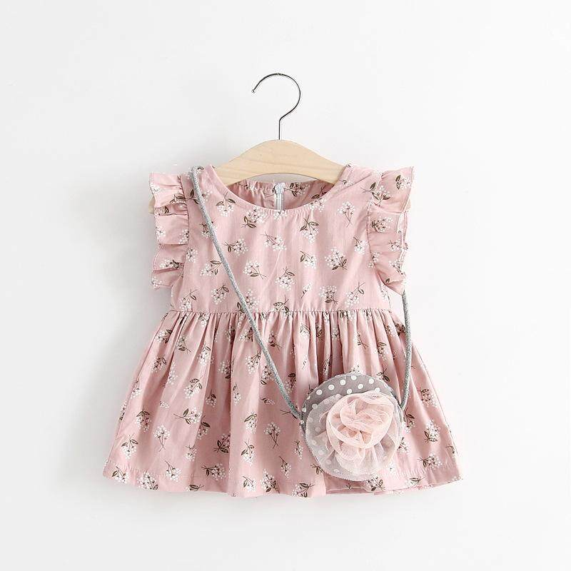(1-4yrs old) Baby Toddler Kids Girl Short Sleeves Floral Summer Dress
