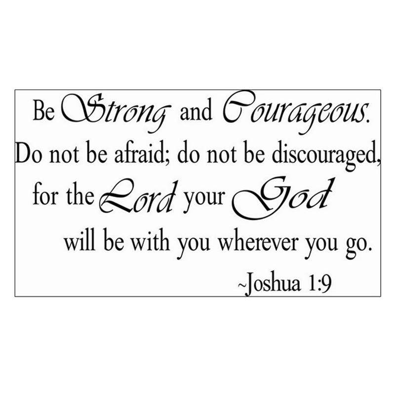 BE STRONG AND COURAGEOUS JOSHUA 1:9 QUOTE RELIGIOUS VINYL DECAL WALL STICKER