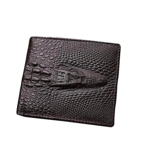 A125 Men WLT-008 Vintage Genuine Cow Leather Short Alligator Wallet 3D Design Partern Famous Fashion Brand Male