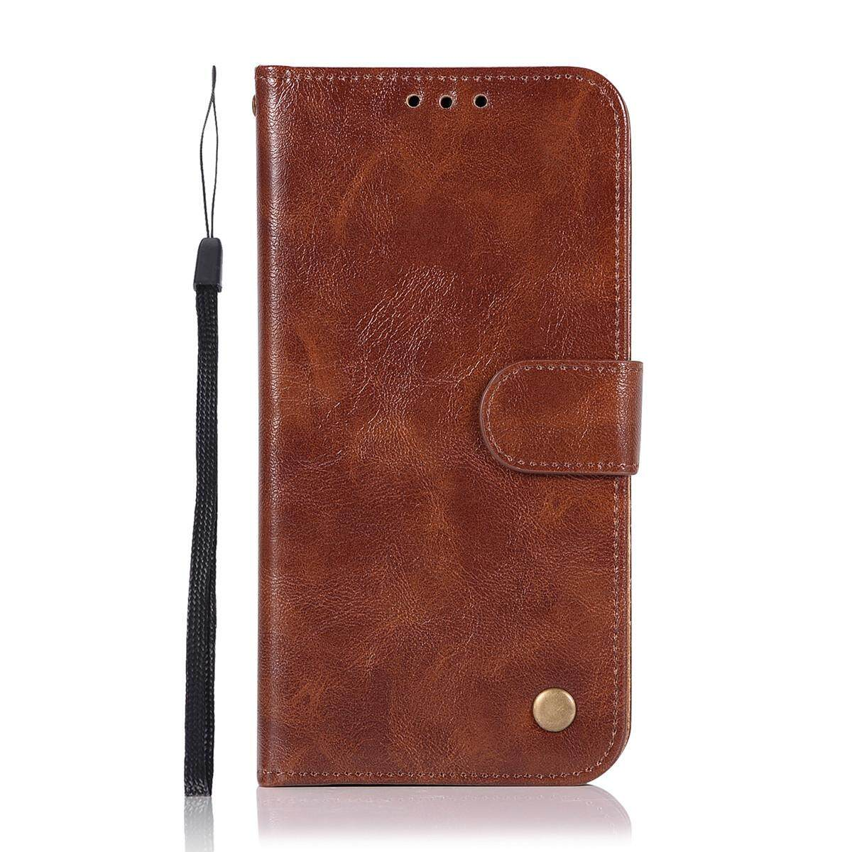 For Samsung Galaxy A8 2018 Retro Vintage Case PU Leather Magnetic Flip Stand Wallet Cover with. Source ... Stand Wallet Cover with Card Slots and Hand Strap ...