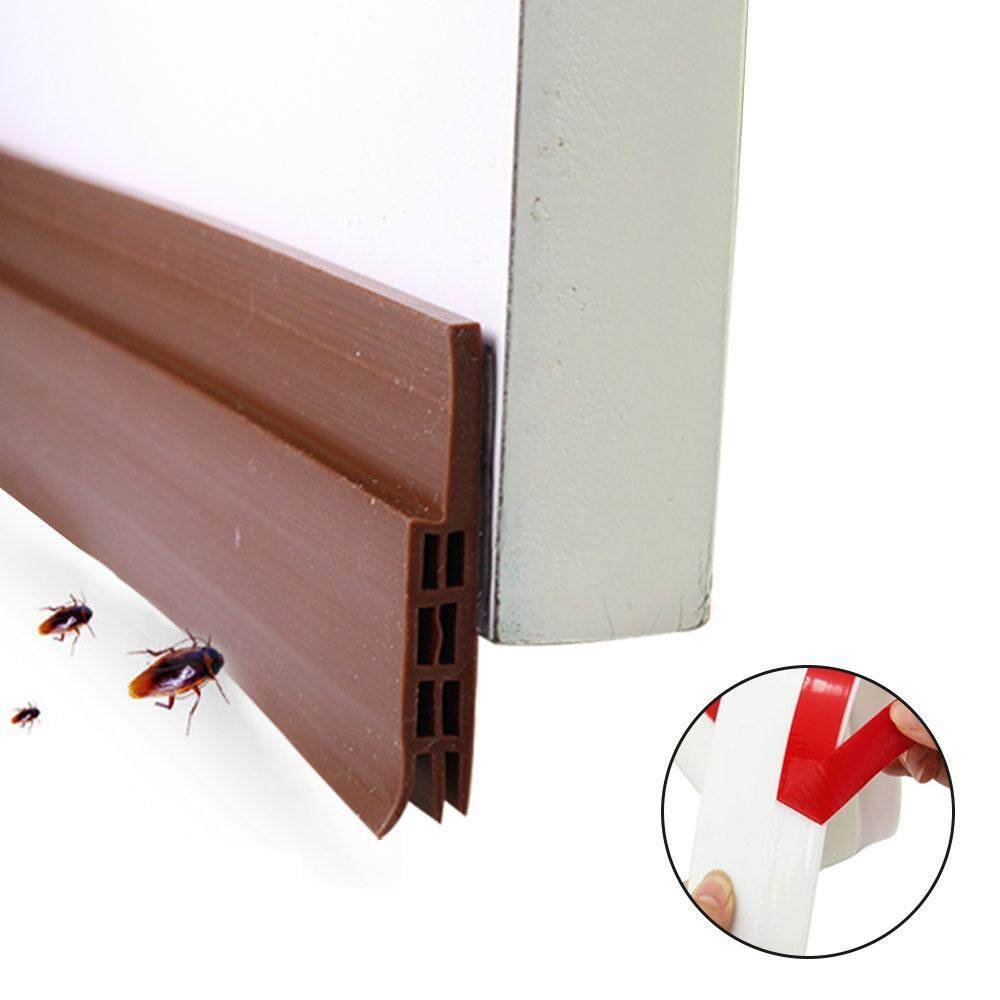 FlyUpward Self Adhesive Under Door Silicone Sweep Weather Stripping Weatherproof Doors Bottom Seal Strip Insulation Draft Stopper Noise Reduction Dustproof Weatherstrip