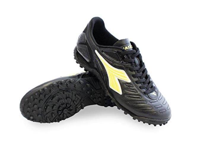 Diadora Pria Maracana 18 TF Sepatu Sepak Bola Hitam Warna Kulit Kapas, Karet, 9 M-Intl