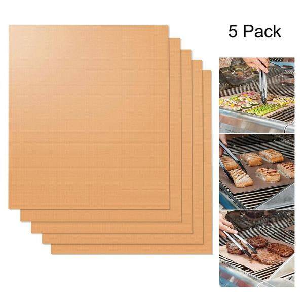 OXOQO (in Stock) Copper Grill Mats - New Durable Quality - Non-Stick Grill Mats - Grill Gift Accessory - For Gas, Charcoal, Or Electric Grills.